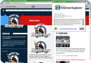 A screenshot of And All That Malarkey in Internet Explorer 7 Beta 2